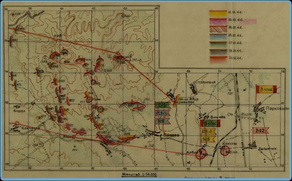Boje o Dargovský priesmyk - výkazová mapa